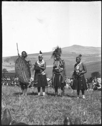 Bride and helpers at a Zulu wedding ceremony