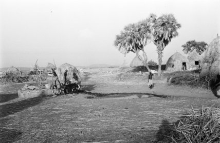 View of round huts at ...