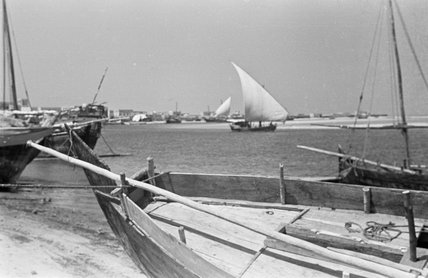 View of dhows (sailboats) beached ...
