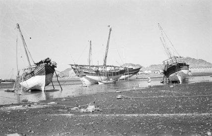View of three sambuks (sailboats)beached ...