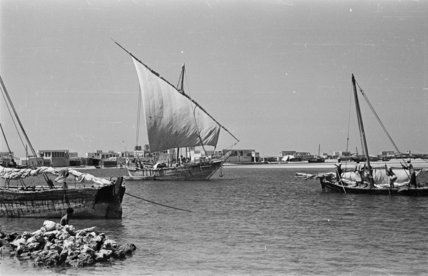 View of dhows (sailboats) in ...