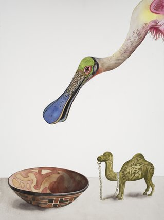 New World Spoonbill with the Bronze Camel