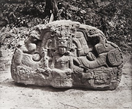 Stone carving (Zoomorph P) at Maya site of Quirigua, Guatemala