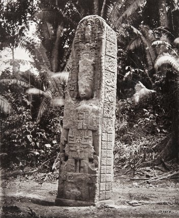 Stone carving (Stela D) at Maya site of Quirigua, Guatemala