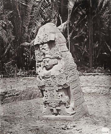 Stone carving (Stela K) at Maya site of Quirigua, Guatemala