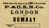 P&O Baggage Label - London to Bombay