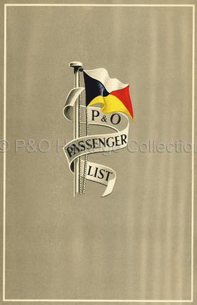 P&O Passenger List for ARCADIA, 1957