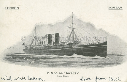 EGYPT on London to Bombay route