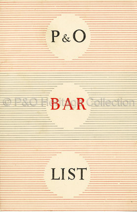 P&O Bar List from 1957