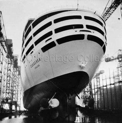 Stern view of CANBERRA on launch day