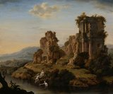 Landscape with ruins, nymphs bathing