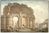 Capriccio, classical ruin in landscape, by Clerisseau