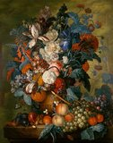 A vase of flowers with fruit, by Jacob van Huysum