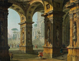 Elegant figures within a classical palace, by Antonio Joli