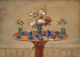 Still life with flowers and teacups