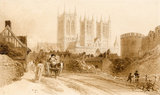 View of Lincoln Cathedral, by Peter De Wint