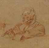 A man playing a flute, by Watteau