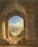 View from a Doorway at Warkworth Castle, by John Varley