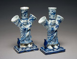 Flower Vases in the Form of a Chinese Sage or Deity, Delftware