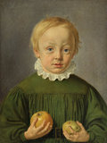 Boy holding an apple and a pear, by Georg C.C. Raedel