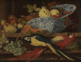 Still-life with fruit and macaws, by Balthasar van der Ast