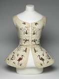 Cream linen underbodice embroidered with birds