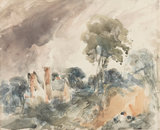 Cottage among trees with a sandbank, by Constable