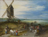 Landscape with mill and carts, by Jan Brueghel, the elder