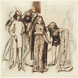 Composition of six figures in Medieval Dress