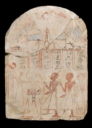 Stelae, with people offering to Osiris, from Abydos
