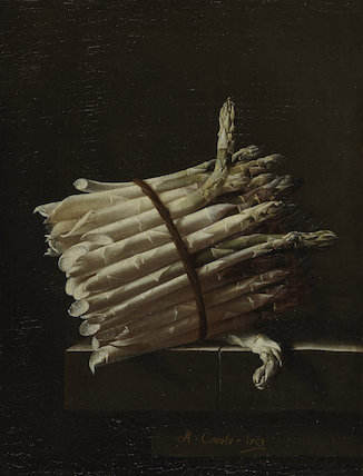 A bundle of asparagus, by Adriaen S. Coorte