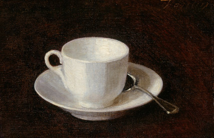 White cup and saucer, by Fantin-Latour