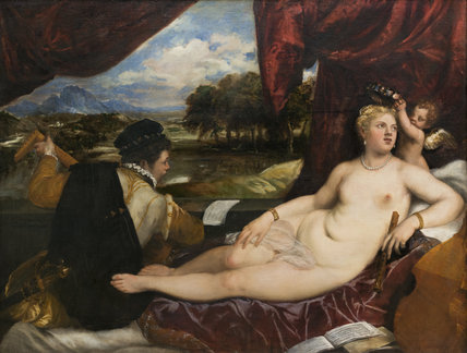 Venus and Cupid with a lute-player, by Titian