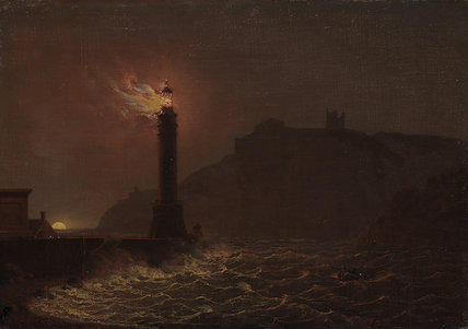 A lighthouse on fire at night, by Joseph Wright of Derby