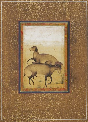 Ram and ewe in a meadow, Mogul School