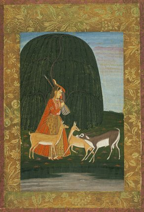 Todi Ragini: a girl playing the vina to antelopes