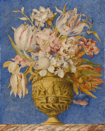 Flowers in a vase which stands on a marble ledge, by Giovanna Garzoni