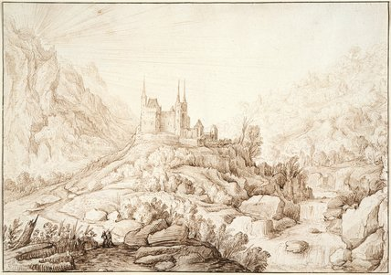 Mountainous landscape with a castle, by H. Cornelisz Vroom