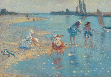 Children paddling, Walberswick, by Steer