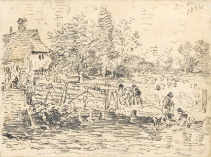 Washing Sheep, Bentley, by Constable