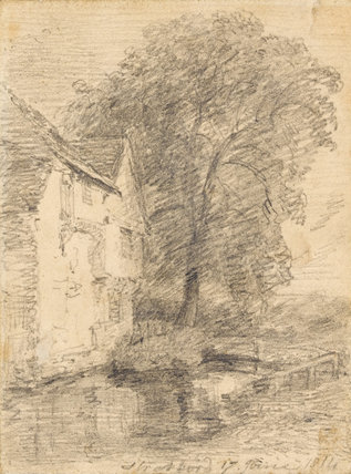 House and Tree by a Pond: Stratford St. Mary, by Constable