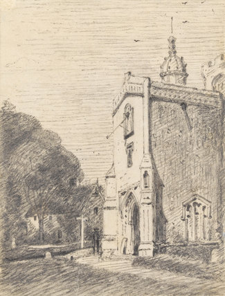 Porch of East Bergholt Church from the S.E., by Constable