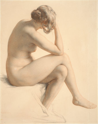 Female Nude Seen in Three-Quarters, by W. Mulready