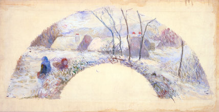 Fan Design: Garden Under Snow, by Gauguin