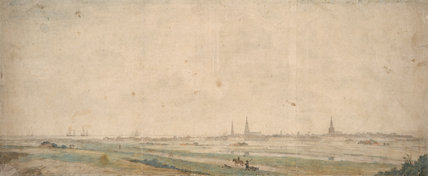 A view of Calais across the fields, by Abraham de Verwer