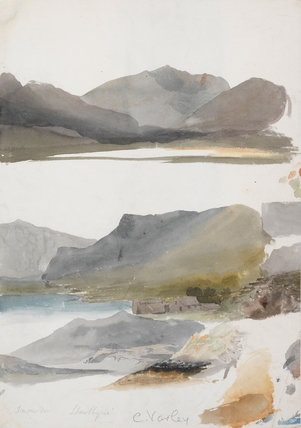 Three Studies of Snowdon: Llanllyn, by Cornelius Varley