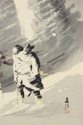 Braving heavy snow, by Taguchi Beisaku