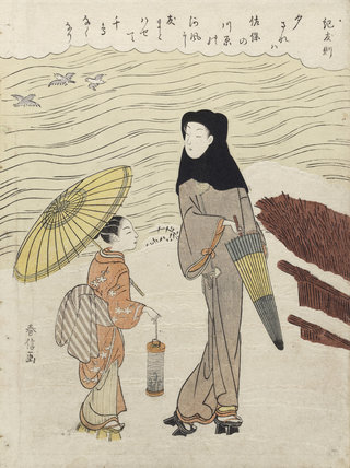 Lady and her Maid Walking by a River, by Suzuki Harunobu