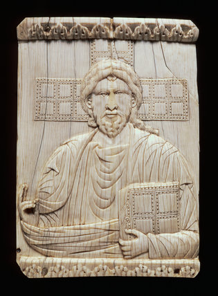 Christ Pantocrator, Byzantine Carved Ivory Panel