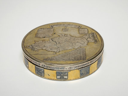 Silver Box, with a Map of Russia